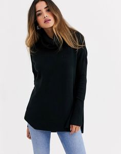 FRENCH CONNECTION FRENCH CONNECTION COWL NECK STEP HEM SWEATER-BLACK. #frenchconnection #cloth French Connection Style, Black Sweaters, World Of Fashion, Cowl Neck, Your Style, Turtle Neck, Clothes For Women, Long Sleeve, Sleeves