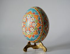 Turquoise Ukrainian Easter egg pysanka by UkrainianEasterEggs