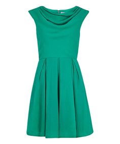Look what I found on #zulily! Green Pleated Bergen Dress by Louche #zulilyfinds