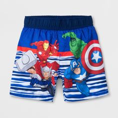 Toddler Boys' Marvel Avengers Swim Trunks - Blue 5T