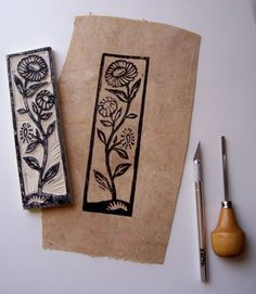 Make your own botanical rubber stamps - Note the image on woodblock mirrors that on the page. -Tutorial: Make your own botanical rubber stamps - Note the image on woodblock mirrors that on the page. Stamp Printing, Screen Printing, Make Your Own Stamp, Eraser Stamp, Stamp Carving, Handmade Stamps, Linocut Prints, Stencils, Hand Carved