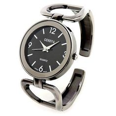 Geneva Brushed Finish Black Metal Large Face Women's Bangle Cuff Watch