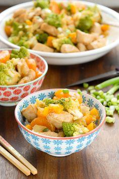 Orange Chicken and Romenesco Stir Fry with Clementines