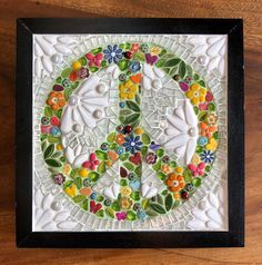 Framed peace sign made from flowers butterflies and a few cute ladybugs. Glass mosaic in black wooden frame. Home Decor Home Decor Sale, Ikea Frames, Mosaic Madness, Ceramic Flowers, Mosaic Glass, Flower Vases, Handmade Items, Peace, In This Moment
