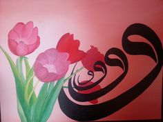Oil Painting with calligraphy