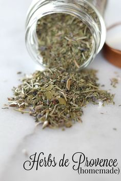 While you can purchase herbs de provence pre-made in stores, you can save money by making your own homemade herbs de provence instead – especially if you grow your own herbs. It's super easy to make, and all you do is store it in an airtight container. Add this to your spices and frugal homemaking recipes board!