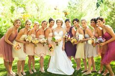 bridesmaid color palate featuring some dresses from Amsale