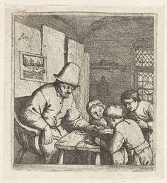 Schoolmeester met drie leerlingen bij tafel, Adriaen van Ostade, 1671 - 1679