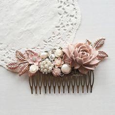 Mayfair - Pastel Mauve Pink Rose Gold Wedding Hair Comb