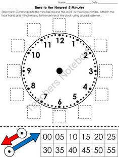 Worksheets Parts Of A Clock Face clock the ojays and math on pinterest time cut paste activity telling to nearest 5 minutes from