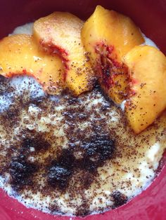 Healthy porridge with poppy seed, peach and a little bit of maple syrup :)
