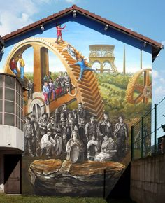 French artist Patrick Commecy transforms drab buildings with 3D optical illusion murals resembling vibrant street scenes. See: http://londonstreetartdesign.co.uk/patrick-commecy-hyperrealistic-town-murals-france/