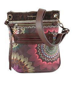 #Desigual Tasche - Modell Dakota Bandolera. Muster:  ethnisch und Mandala, braun.