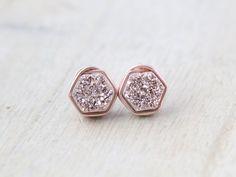 Gilded Hexagon Druzy Studs - Rose Gold