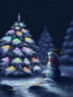 Silent night Art Print by Veronica Minozzi. All prints are professionally printed, packaged, and shipped within 3 - 4 business days. Christmas Scenes, Noel Christmas, Merry Little Christmas, Christmas Canvas, Magical Christmas, Winter Christmas, Winter Pictures, Christmas Pictures, Painting Snow