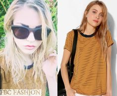 Frances Bean Cobain wears an Urban Outfitters Truly Madly Deeply Clasic Boyfriend Tee in the color Blue Multi.