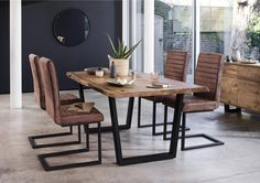 Jagger Dining Table with Metal Legs and 4 Dining Chairs - Corndell - Furniture Village Metal Leg Dining Table, Dinning Room Tables, Wooden Dining Tables, Modern Dining Table, Dining Table Chairs, Dining Room Furniture, Metal Legs For Table, Industrial Dining Chairs, Industrial Furniture
