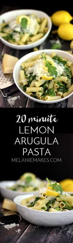 This Lemon Arugula Pasta is the answer to getting dinner on the table quickly with minimal effort. Your favorite pasta is tossed with lemon juice and zest, arugula and olive oil before being showered with Parmesan cheese. Pasta Sauce Recipes, Yummy Pasta Recipes, Dinner Recipes, Cooking Recipes, Noodle Recipes, Pasta Dishes, Food Dishes, Side Dishes, Healthy Pastas