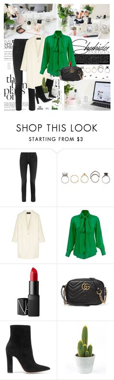 """""""Shahida Parides Button Down Blouse"""" by mars ❤ liked on Polyvore featuring R13, Iosselliani, Donna Karan, NARS Cosmetics, Gucci and Gianvito Rossi"""