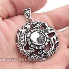 Men's Phoenix Dragon Ying Yan Tai Ji Stainless Steel Pendant Chain Necklace   eBay