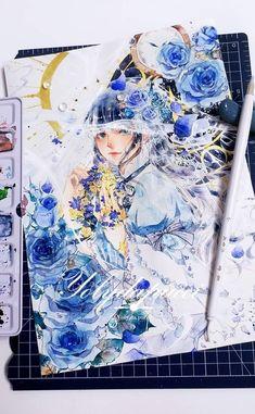 By _yolidapucci_ Manga Watercolor, Watercolor Paintings, Colorful Drawings, Cool Drawings, Inspiration Art, Learn Art, Kawaii Art, Copics, Asian Art