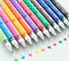 Novelty Korean stationery 12 colors gel ink pen, marker pen, bling roller pen for DIY drawing, writing, signing, graffiti, text liner