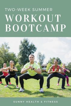 Kickstart your summer fitness routine with this two-week summer workout bootcamp program. This 2-week workout bootcamp program is designed to target key muscles in your body to increase strong lean muscle mass and challenge your cardiovascular system to increase overall fitness level. #sunnyhealthfitness #bootcamp #summerbootcamp #workoutbootcamp #bootcampprogram #summerworkout #workoutprogram
