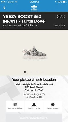 #adidas infant yeezy boost 350 turtle dove confirmed reservation size 7 from $650.0