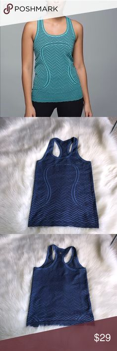 71c33f3a039c Shop Women s lululemon athletica Blue Black size 4 Tank Tops at a  discounted price at Poshmark. Description  Item is in BLuE Lululemon  Patterned Swiftly ...