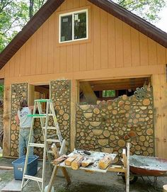 A cordwood cabin nestled deep in the Wisconsin woods built by the King family and friends. Post and beam framework with good random cordwood infilll. The half logs going up the middle, angled to the left is the outside of the inside stairway. Corey attended a cordwood workshop in Eagle River and learned all the requisite skills to build his family a beautiful shelter. www.cordwoodconstruction.org