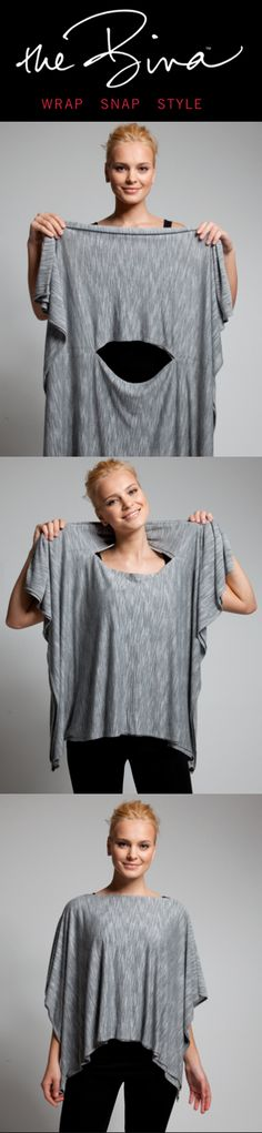 The Bina - Perfect for travel. Multiple possibilities with just one item that fits right in your purse. How to wear it as a poncho. www.binabrianca.com