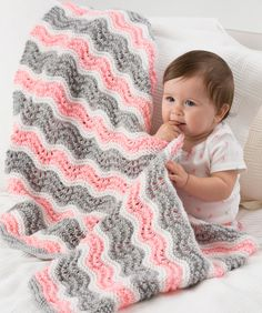 Baby Girl Chevron Blanket Knitting Pattern | Red Heart free pattern
