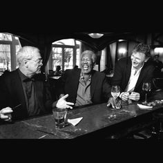 My favorite actors, Michael Caine, Morgan Freeman, and Liam Neesen, all laughing over a pint!