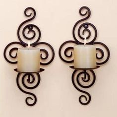 Wrought Iron Wall Decor Candles