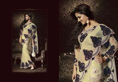 $355.01 Sonal Chauhan Grey and Blue Stone Work Bollywood Saree 22890