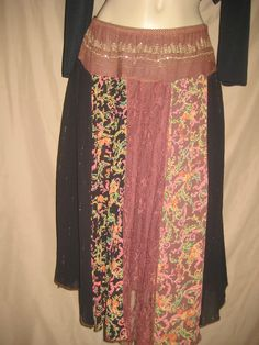 gypsy midi skirt black brown print M free ship renaissance people lace panel #Angie #PeasantBoho