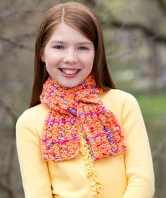 Funtastic Scarf  beginner knit scarf from red heart yarn (gumdrop)