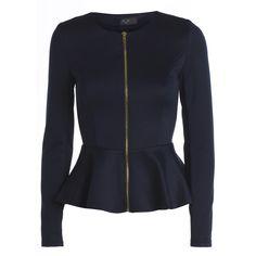 AX Paris Plain Peplum Zip Front Jacket ($40) ❤ liked on Polyvore
