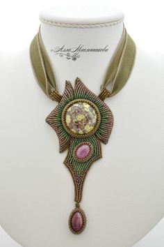 "Gorgeous beaded necklace / Купить Кулон ""Теплая весна..."" с авторским стеклом Tombodama - украшения из бисера, авторские украшения"