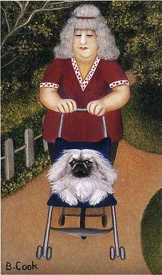 'Strolling' -- by Beryl Cook (British Artist, Using a paintbox set… Beryl Cook, English Artists, British Artists, Isabelle, Art Themes, Fat Women, Naive Art, Dog Walking, Girls Shopping