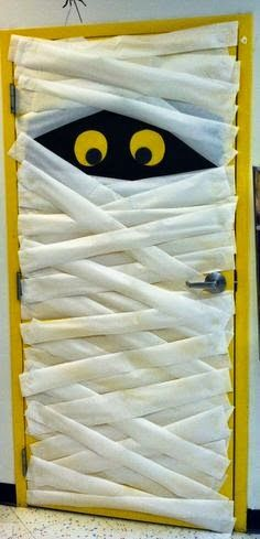A eye catching Halloween themed door for your classroom!