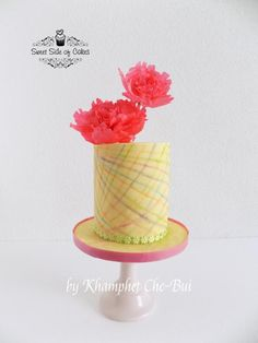 For my Mom - Mother's Day 2016 - Cake by Sweet Side of Cakes by Khamphet Single Tier Cake, Mango Cake, Mom Cake, Cool Birthday Cakes, Spring Rolls, Pink Peonies, Tiered Cakes, Cakes And More, Happy Mothers Day