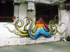 Octopus Graffiti. Wall murals. Street art.