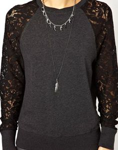 Image 3 of55DSL Sweatshirt With Lace Sleeves