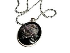 #Sugar #Skull with #Roses Cameo Horror Necklace by TheSteampunkBuddha