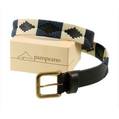 Pampeano s Luxury Hand Stitched Polo Belt - Jugadaro is Hand stitched and made with the finest vegetable tanned leather in Argentina Navy and Cream