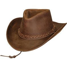 Brown Oiled Leather Western Hat 342125651674