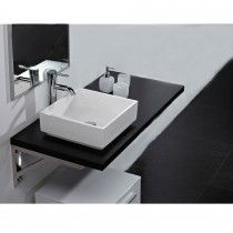 LIke this for the powder room -   Kota Wall Mounted Countertop for Above-Counter Basins in Black Wood by Pr