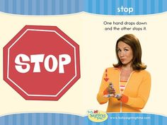 Learn This Week's Featured Sign: Stop This week's sign comes from: Baby Signing Time Volume 3 – A New Day Sign Language Basics, Sign Language Book, Simple Sign Language, Sign Language Phrases, Sign Language Interpreter, Learn Sign Language, British Sign Language, Language Lessons, Deaf Sign