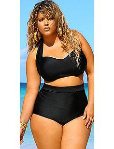 $148.00 'Sao Paulo' High-Waisted Plus Size Bikini - Black | Sonsi